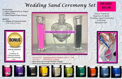 $65.00 WEDDING SAND CEREMONY SET ADVERTISEMENT with BONUS 2 COLOURS OF SAND (Custom)