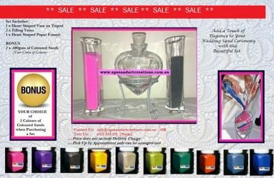 SALE      3   $80.00  WEDDING SAND CEREMONY SET ADVERTISEMENT with BONUS 2 COLOURS OF SAND_400x261